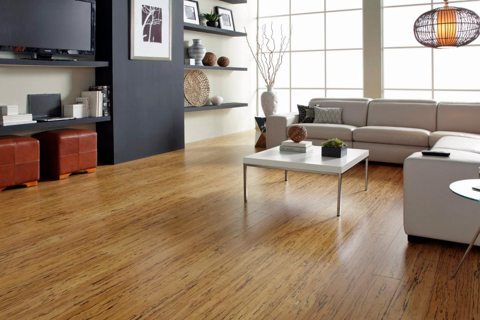 Bamboo flooring provides a neat finish and in a room with fewer furnishings or lack of other adornments it suffices with its texture and rich colour tone