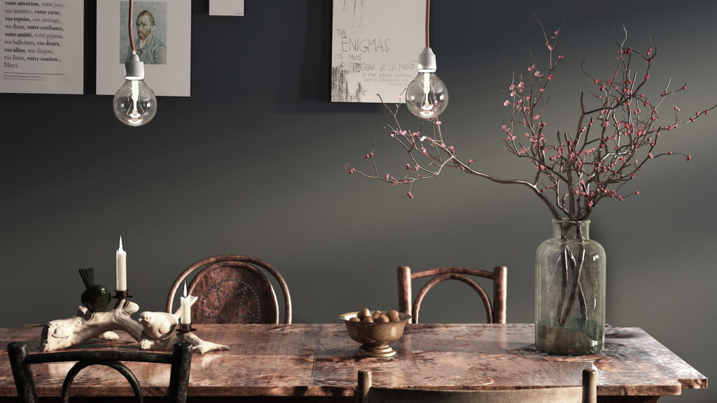 wooden table - The secret to rustic styling a small dining room